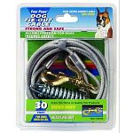 Your big dog can exercise and play on this tie out cable that's designed for dogs over 50 lbs. You can keep him in sight and he can roam around without leaving the yard.   Rust-proof chains. / Silver