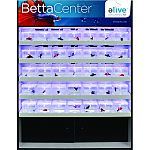 24 inch system will display 45 betta fish Air driven system keeps fish active, healthy, and vibrant Increases betta fish sales and decreases fish loss Each cup lit with led under cup lighting Individual cup system makes it easy for consumers to shop Vibra