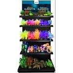 Neon plants flow under blue light. Many sizes and colors for all aquariums. Plants have weighted bases. Provides great hiding places for your fish keeping them happy and healthy. 142 piece display