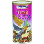 Fruit Cocktail for Parrots and Cockatiels - 20 oz. Perfect natural treat to satisfy your bird. Big luscious chunks of fruit, vegetables, and nuts in an aromatic blend--the kinds of foods parrots and cockatiels naturally seek out in the wild.