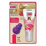 Contains a kitty kong toy plus a 2.5 ounce tube of kongs new stuff n easy treat for cats. With its lightweight construction the kitty kong can easily be batted, rolled and bounced by cats. Increase excitement by filling it with treats or a bit of the salm