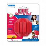 Kong Stuff-A-Ball, Kong s tough natural rubber in a ball designed to hold food or treats for added fun. Ball bounces and rolls unpredictably to keep your dog interested. 16 vertically grooved treat slots.