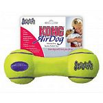 Air Kong Squeaker Dumbbell Doy Toy is a fun interactive dog toy that may be used as either a chew or fetch toy. Easy for your dog to pick and carry, this toy has a squeaker at each end for lots of fun. Made of non-abrasive tennis ball material.