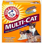 Arm & Hammer Multi-cat destroys odors with the worlds most proven deodorizer, ARM & HAMMER Baking Soda, in a powerful crystal form. It clumps hard and fast to lock in odors on contact. Multi-cat releases a fresh clean scent with every use.