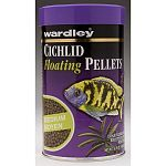 A balanced staple food for herbivorous and carnivorous cichlids. Wardley premium cichlid floating pellets contains canthaxanthin a superb color enhancer. That brings out vibrant red, yellow, and orange hues.