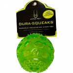 Super squeaking dog toy. Durable non-toxic material. Unpredictable bounce. Floats.