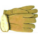 Premium yellow split deerskin winter gloves with Thinsulate™ Insulation. Gunn-cut design with keystone thumb, shirred elastic back and self hemmed open cuff.