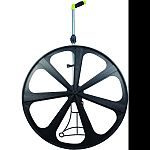 5 digit counter reads to 10,000 units 25 inch diameter wheel is perfect for almost any outdoor use Gear driven counter with push button reset and spring loaded kickstand Folding handle with comfortable pistol grip