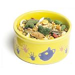 This charming little Hamster Pawprint food dish is made of twice baked ceramic that is very sturdy and has a cute colorful hamster design around the middle. Bowl is 3 inches in diameter and perfect for holding treats and food for your pet hamster.