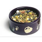 The Guinea Pig Pawprint Food Dish by Super Pet is made of durable twice baked ceramic and makes a great dish for treats and food. Size is 4.25 inches in diameter. The design of pawprints and guinea pig faces circles around the middle.