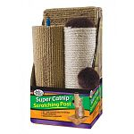 The Four Paws sisal/carpet scratching post measures an impressive 21 inches height when assembled.  The post is laden with a cat's two favorite scratching surfaces-sisal and carpet.