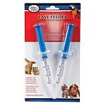 Four Paws Easy Feeder Syringe 2-Pack is a Pair of syringes with nipple and tapered tips for feeding medications and formulas to small animals. Nipple tip for feeding thinner medications and formulas.