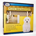 Four Paws Safety Gate With Plastic Mesh. The quality solid hardwood frame on these dog gates feature a non-toxic finish and rubber bumpers. Pressure mount attachment system. Size: 26 in to 42 in. / 24 in. high.