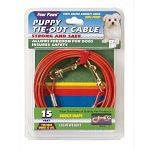 Ensure pet safety while allowing complete freedom.  15 ft. Orange rust proof chains. Strong and Safe - vinyl coated aircraft cable. Bronze snaps for dogs under 25 lbs. From the home of quality pet products.