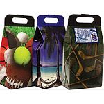 Each case features 4 sports themed, 4 palm trees, and 4 golf themed 12 pack coolers Just add ice! Leak proof, unbreakable, reusable Made in the usa