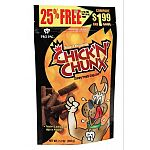 Dogs will go wild for Chick'N'Chunx! That's because the deliciously satisfying taste of chicken is sealed in every mouth-watering bite. Your dog's senses will go wild when you open the bag and treat him to Chick'N'Chunx! Case of 10 packages.