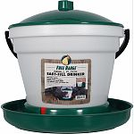 This easy-fill, easy-clean poultry drinker is molded from long-life plastic It features a top-fill bucket using a float in the base to allocate water to the rim This drinker is excellent for indoor or outdoor use Accommodates up to 52 chickens or game bir