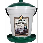 This easy-fill, easy-clean poultry drinker is molded from long-life plastic It features a top-fill bucket using a float in the base to allocate water to the rim This drinker is excellent for indoor or outdoor use Accommodates up to 100 chickens or game bi