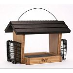Holds 6 quarts of seed and 2 suet cakes Made with solid cross-ply bamboo for ultra resistant to mold, bacteria, and squirrels Removable fresh seed tray for cleaning and prevention of mold and bacteria growth Stay-clear, crack resistant windows Rust-free a