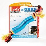 Tough orka material for dogs that love to chew. Great shape to toss and fetch. Ropes help remove soft tartar to enhance dental health. Perfect for small breeds.