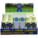 Shelf display contains (8) trial size of liquid poultice, cream poultice and liniment gel Trial sizes are very affortable for customer to sample Easy to place on shelf or by cash register to attract interest and quick sales Great visual graphics that expl