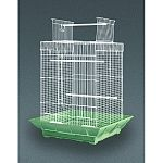 Features a uniquely molded plastic base with built-in seed guard and pull-out bottom grille. Lower-positioned cups help contain mess and keep the cage area free of debris. Cages include 2 plastic cups, 2 perches and are designed forparakeets, cockatiels a