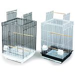 Playtop roof opening with perch Features a removable bottom grille and pull-out drawer for easy cleaning. Includes 2 plastic hooded cups and 3 wood perches and is designed for parakeets, cockatiels and other small to medium birds