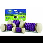 Provides multiple treating options for longer lasting playtime. Made of durable nylon and tpr. Use with busy buddy treat ring refills or spread cheese or peanut butter into the grooves on the toy. Includes 4 natural rawhide treat ring refills.