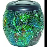 Solar powered led lights with the look of multi-colored mosaics Lit by white led lights Jars are 4x4x5 inches