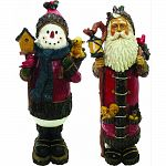 Durable, wood look design Old world santa holding a lantern and cardinal Traditional snowman holding a birdhouse and basket 2 seperate statues Actual size: each is 7 lx6 wx18 h