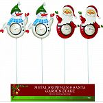 Durable coated metal waving snowman and santa Each has outdoor thermometer Decorations are attached to garden stakes and can be put anywhere outside Actual size: 11 lx1 wx37 h