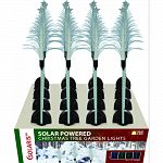 Solar fiber, christmas tree shaped tops with motion led lighted stakes Contains: 4 white, 4 green, 4 red, and 4 blue led lights Actual size: 6 lx6 wx40 h