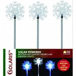 Solar fiber, snowflake shaped top with motion led lighted stakes Contains: 16 assorted stakes Actual size: 5 lx3 wx33 h