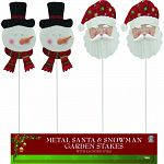 Durable coated metal snowman and santa with led light-up eyes Battery operated Comes with timer set to 6 hrs on and 18 hrs off Decorations are attached to garden stakes and can be put anywhere outside