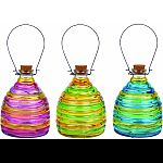 Colored glass wasp traps with cork tops, ribbed glass details, and wire hangers Perfect for deterring wasps and yellow jackets while beautifying the garden Keep wasps at bay by hanging a glass wasp trap outdoors with a small amount of soda or sugar water