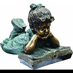 This antique finish sculpture has a timeless charm that captures the innocence of childhood The intricate detailing of these children is sure to bring awhimsical playfulness to your garden or deck. Made of polyresin and stone powder with an antique finish