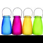 Decorative hanging glass jars Use on decks, patios, and trees Can be used with tea lights 4 assorted colors