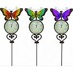 Decorateive garden stake made of iron and glass Functional thermometer Assorted colors