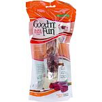3 delicious treats in 1! Contains a combination of the 3 flavors dogs love the most: pork, beef and beef jerky. These all-natural chew treats are made from the finest pork and beef hides, then wrapped with real chicken jerky. A truly delightful, long-last