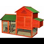 Made of naturally pest and rot resistant solid fir Large dual nesting box with easy acess for egg collection Two acess doors for cleaning Two roosting perches built inside hutch area Easy pull-out cleaning tray Great for house chickens, rabbits and cats