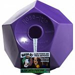 Treat dispenser and slow feeder for horses. The unique and distinct patented twelve sided slow_roll one edge at a time design prevents it from randomly rolling away. Acts as a stall-buddy or pasture-buddy keeping your horse occupied for hours!