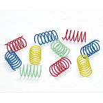 Made to jump when your cat paws these springs, your cat will have hours of fun playing with these silly springs. Made of plastic and contains no metal wire for safety. Sold in a pack of 10 colorful, wide springs.
