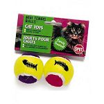 Get your cat to run around the house and get some exercise with these fun tennis balls by Ethical. Scented with catnip, each ball has a bell inside for hours of noisy fun. Great for both interactive and solo play with your cat.