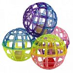 Each of these fun little balls has a bell that is fun to hear when batted around by your cat. Lattice balls are easy for your cat to play with and provide hours of entertainment. Sold in pack of four assorted colored balls.