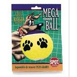All dogs love to play with tennis balls and this tennis ball is sure to please your dog. Made of the traditional tennis ball material with a fun paw print design. Vivid colors make this ball easy to find in the grass.