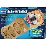 Provides you dog with the mental stimulation they need. Dogs receive a reward for their achievment of finding the hidden treats. Bone shaped board with 10 holes for hiding treats. Has 6 sliding disks which challenges the dog to find the treats.