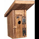 Natural wood birdhouse Made in the usa by skilled craftsman The condo has two entrances allowing two birds to share the space