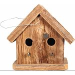 Natural wood bird house Made in the usa by skilled craftsman The condo has 2 entrances allowing 2 birds to share the space