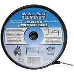 The Never Rust Aluminum Insulated Under Gate Cable - 14 gauge is very flexible and easy to place in a trench. Spool contains 50 ft. of 14 gauge galvanized aluminum. Rated for 40,000 volts. Highly resistant to moisture and abrasion.
