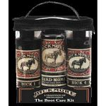 The Boot Care Kit includes: one 8 oz bottle of Bick 1, one 8 oz bottle of Bick 4, and one 5.5 oz bottle of Boot-Gard, and a reusable application cloth, all package in an attractive clear case with a handle and zipper closer.